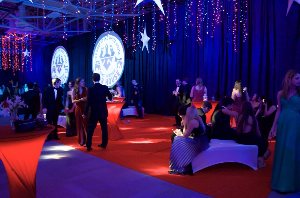 An elegant party in red, white, and blue.