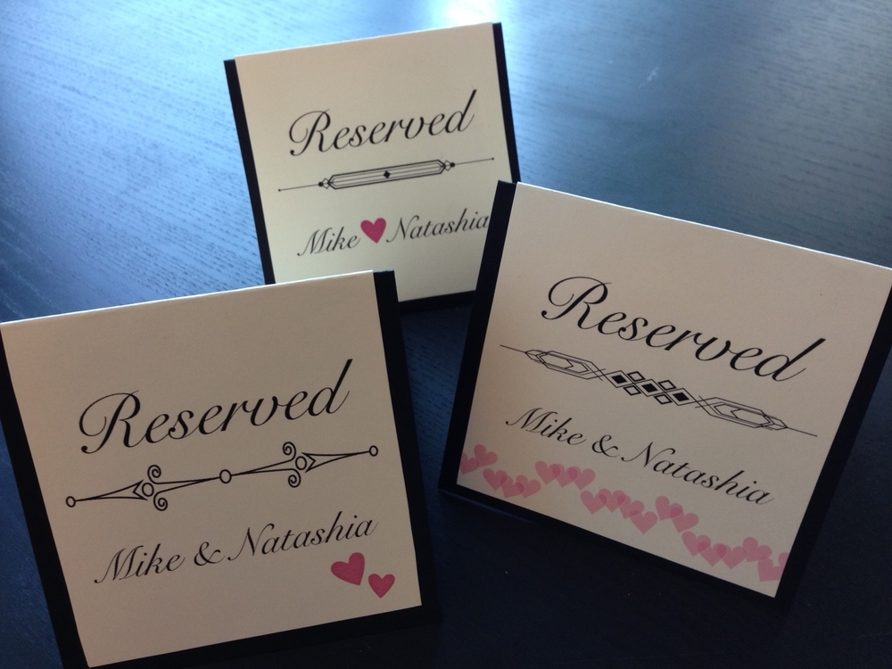 handmade reserved signs - date night