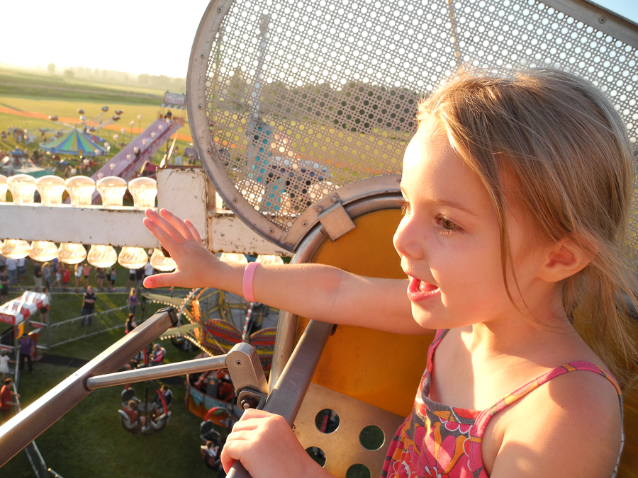 My daughter's first ride on a ferris wheel.
