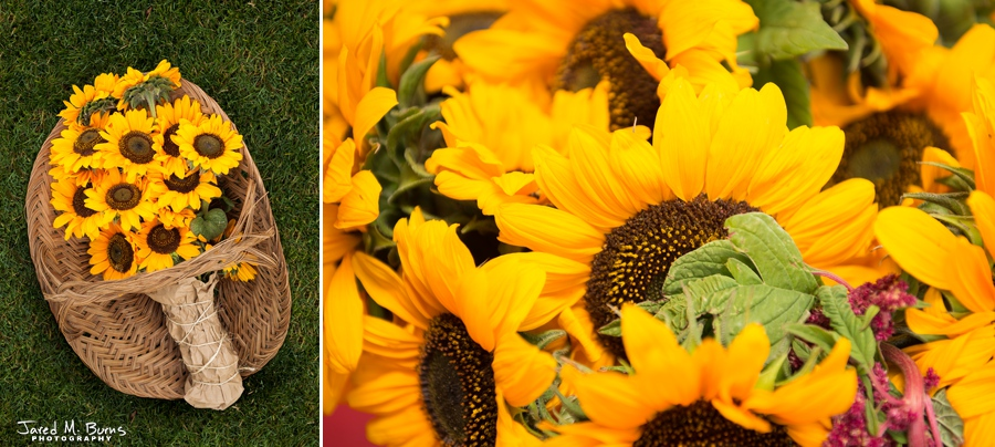 Seattle Wedding Photographer, Jared M. Burns - Outdoor wedding flower decor - Sunflowers