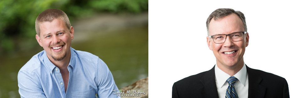 Modern style headshots of men in the studio and in a natural outdoor enviroment