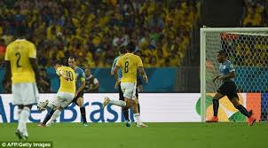 James Rodriguez scores against Uruguay