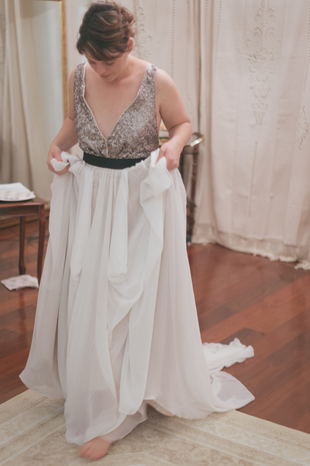 My friend Bec in the silver Julia. She really liked this one and I think she looks amazing in it. Believe it or not this was her first experience trying on gowns and she is actually getting married too! I loved being a part of it x