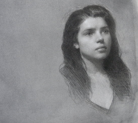 Meredith, 9x 9 inches, Pencil and White Chalk on Prepared Paper