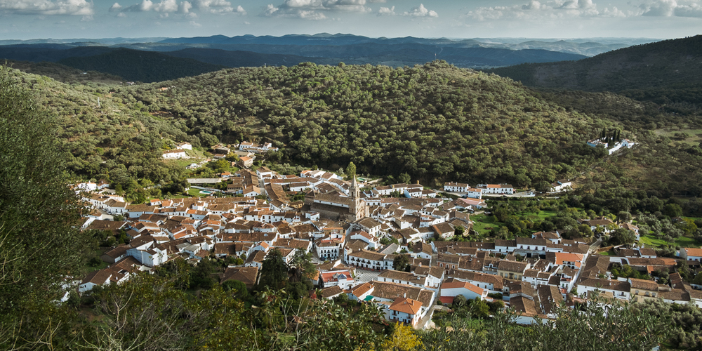 View of Alajar, Spain, from Peña de Arias Montano, Andalucia