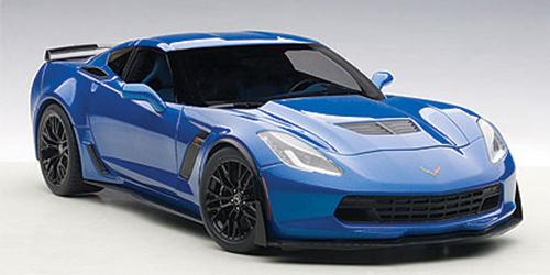 71265  Chevrolet Corvette C7 Z06 (Laguna Blue Tintcoat, zwarte velgen), Autoart