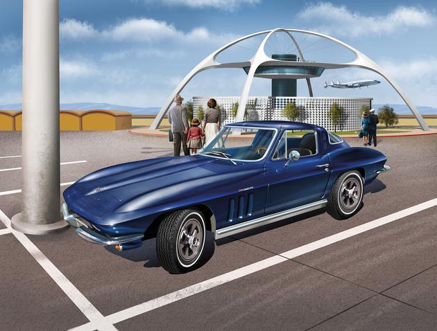 Volledig nieuw ontwikkeld bouwpakket van de Chevrolet Corvette bouwjaar 1963-1967 - Beweegbare motorkap - Draaibare wielen - V-8 injectiemotor inclusief generator en ventilator - Waarheidsgetrouw, chassis - Beweegbare koplampen - Vele verchroomde onderdelen waaronder de gril, de velgen en de bumpers