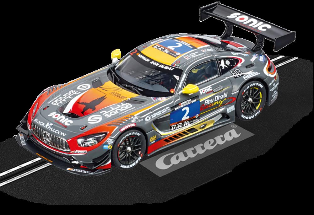 """30768  DIG132 Mercedes-AMG GT3, """"No.2"""", Carrera   Eenvoudigweg sterk...       De hoge prestaties die de wagens uit de GT-reeksen op de circuits neerzetten vormen de ideale basis voor de Mercedes-AMG GT3. Zowel de racebolide als zijn straatversie maken gebruik van de sterke 6,3 Liter-V8-Motor, welke voor de prestaties op het circuit nog wat geoptimaliseerd werden. Na intensieve testen en de ontwikkeling in 2015, werd dit voertuig dit jaar voor het eerst gebruikt in de GT-klasse."""