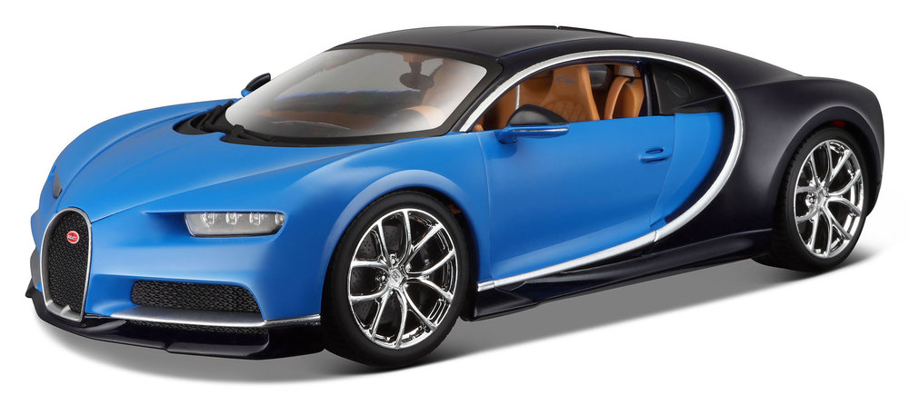 18-11040B  Bugatti Chiron blauw/zwart, Bburago