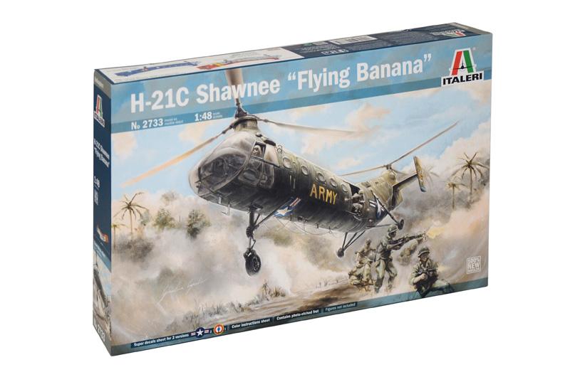 """Italeri: 2733  H-21C Shawnee """"Flying Banana""""  De Piasecki H-21 Shawneewas een van de eerste Helikopters met tandemrotors zoals we die ook van bij de Chinook Helikopters kennen. Dit toestel werd gebouwd door Piasecki Helicopter - later werd dit Vertol - en heeft als meest bekende bijnaam """"de vliegende banaan"""". De H-21 Shawnee werd veelvuldig gebruikt voor militaire doeleinden maar ook privaat werd hij soms ingezet."""
