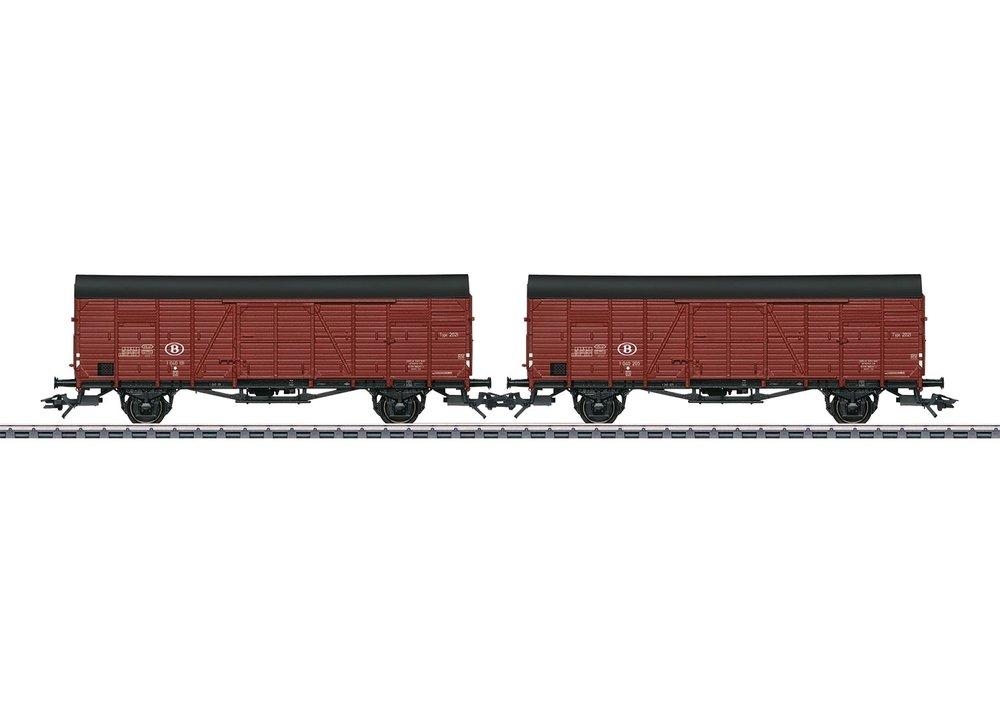 """46383 : set van 2 gesloten goederenwagens type """"Dresden"""", tijdperk III."""