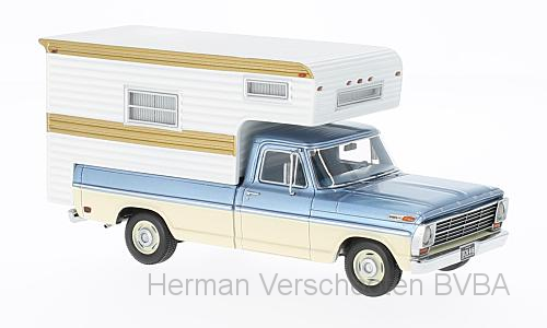 44849  Ford F-100 + caravanopbouw, met. lichtblauw/beige, Neoscale Models