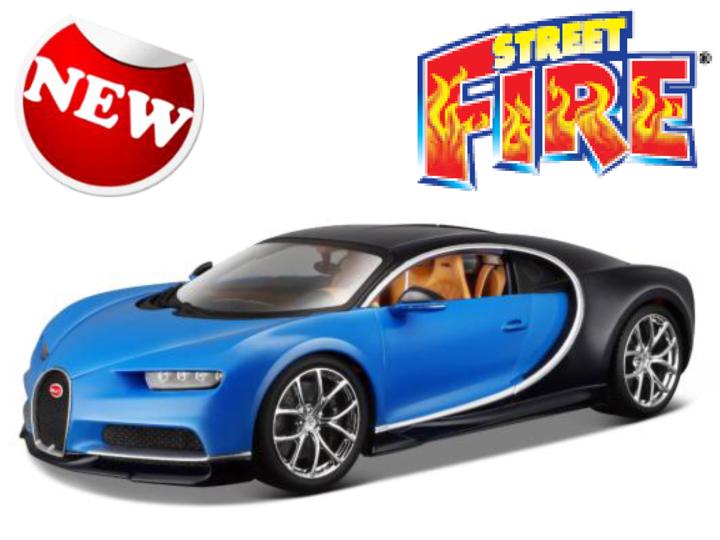 18-30348B  Bugatti Chiron, blauw, Bburago