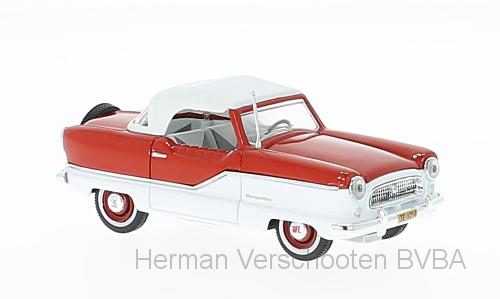 36254  1959 Nash Metropolitan Coupé, wit/Madri Gras rood, Vitesse