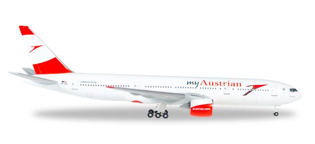 """530132  Boeing 777-200 """"Austrian, Servus Hong Kong"""", Herpa Wings"""