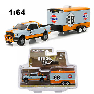 "32070B    2015 Ford F-150 + trailer ""Gulf Oil"", Greenlight"