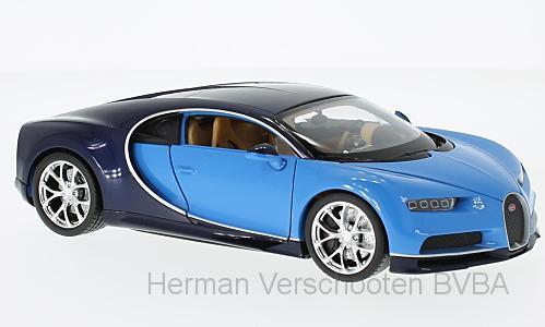 24077BLUE  Bugatti Chiron, lichtblauw/donkerblauw, Welly