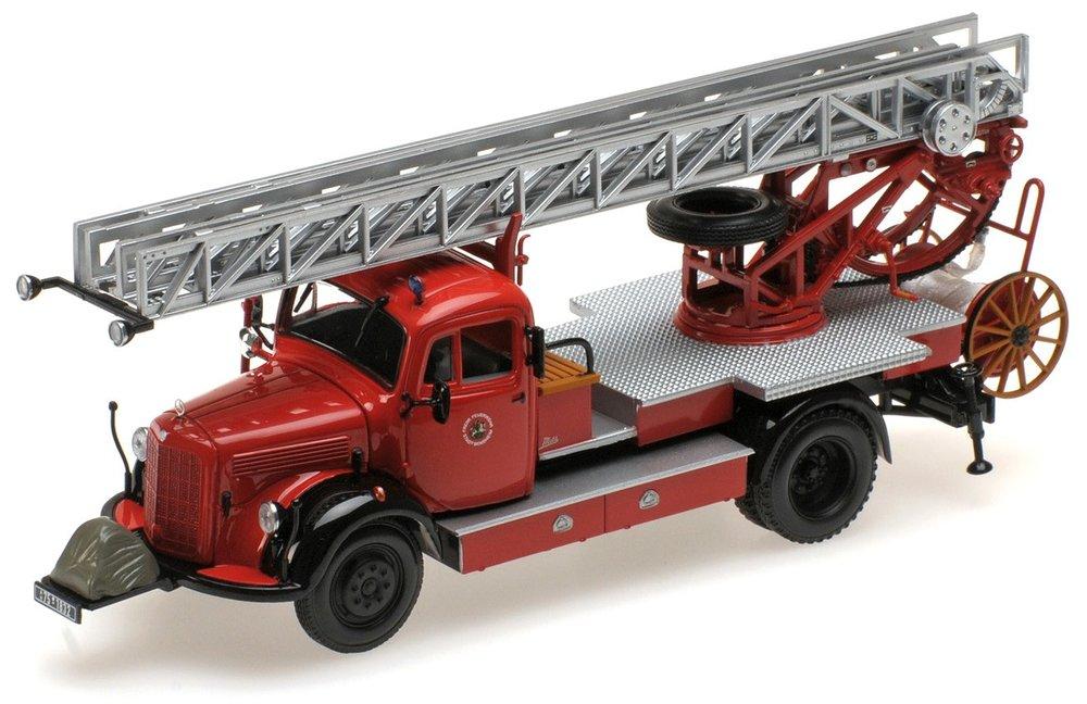 """439350080  Mercedes-Benz L3500 DL17 1950 """"Feuerwehr Bensheim"""", Minichamps"""