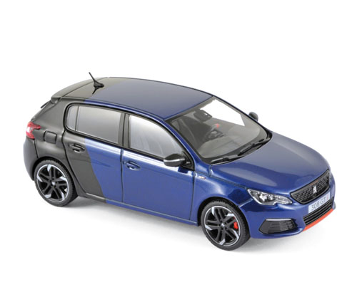 473816  Peugeot 308 GTi Coupe Franche 2017, Magnetic Blue/Zwart, Norev
