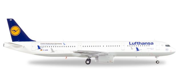 """558563  Airbus A321 """"Lufthansa, 25 Jahre Kranichschutz"""", Herpa Wings"""