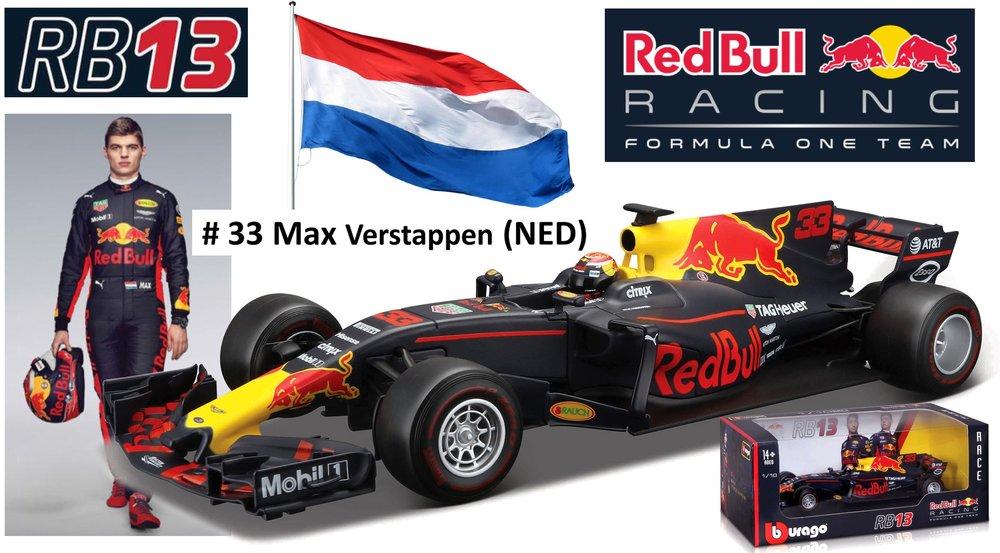 "18-18002V  Red Bull Racing RB13 Renault ""Max Verstappen"", Bburago"