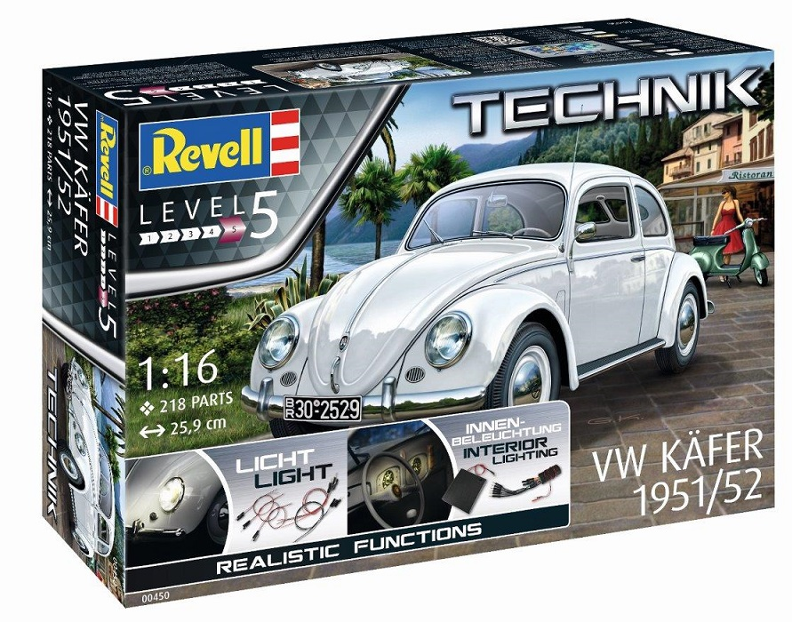 """0450  VW Beetle 1951/52 (Technik)    Met de VW Typ 1 begon de meest succesvolle geschiedenis van de Kever, een van de belangrijkste wagens in de automobielgeschiedenis. Voor het model 1951/1952 is de achterruit als een """"krakeling"""" kenmerkend. Inbegrepen in deze bouwdoos zijn:  - Op deze kit afgestemde en direct bruikbare elektronicacomponenten met handige stekkerverbindingen.  - LED's voor koplampen, dashboard, kentekenverlichting, remlichten en de typische richtingaanwijzers.  - Voorgeprogrammeerde besturingsunit voor weergave van realistische rij situaties.  - Batterijbox (batterijen niet inbegrepen.  - En uiteraard nog vele andere details welke het model kenmerkend maken."""