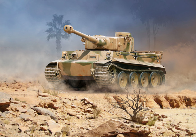 3262  PzKpfw VI Ausf. H Tiger, Revell  Modelbouwkit van de legendarische Duitse Panzer VI Tiger tank in zijn eerste versie. De kit bevat ook decals van 2 versies uit het Afrikakorps.