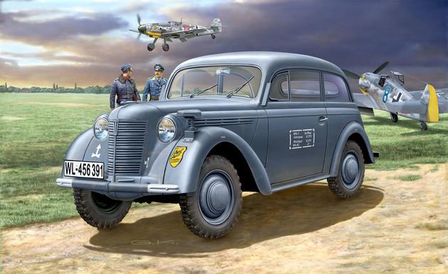 3270  German Staff Car Kadett K38 Saloon, Revell    Bouwkit van een dienstvoertuig van de Wehrmacht. Zeer gedetailleerd interieur alsook een zeer gedetailleerde motor. De motorkap kan open of gesloten gemonteerd worden. In de bouwdoos zijn decals voor 2 versies voorzien.