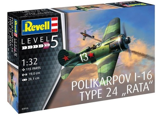 """3914  Polikarpov I-16 Type 24 """"Rata"""", Revell  Modelbouwdoos van de I-16 Rata, een snel en robuust Sovjet-jachtvliegtuig. In 1941 was het als enige type jachtvliegtuig in grote aantallen beschikbaar en leverde het tot in 1941 waardevolle diensten.  De kit bevat:  - Een gedetailleerde cockpit,  - Een Afzonderlijk richtingsroer,  - Een gedetailleerde stermotor  - Een draaibare propeller,  - Een gedetailleerd landingsgestel,  - Decals voor 2 versies"""