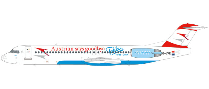 "559027    Fokker 100 ""Austrian Airlines Goodbye Fokker"", Herpa Wings"