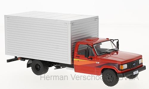 WB267    Chevrolet D-40 Box Truck, rood/zilver, Whitebox
