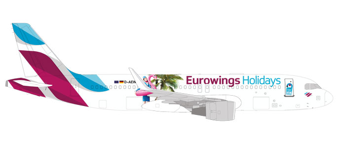 "531276    Airbus A320 ""Eurowings Holidays"", Herpa Wings"