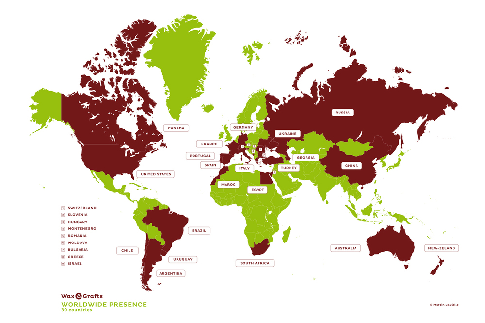 Wax and Grafts is world established in more than 30 countries