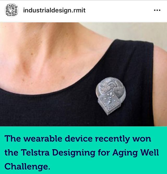 Thrilled to be part of the C.a.T loneliness pin wearable tech project, Winner of the Telstra Designing for Ageing Well Challenge and featured on channel 7 news last week. The technology works by monitoring baseline conversations and word count throughout the day then prompting social contact when levels drop too low. This wearable tech research project is a collaboration with RMIT colleagues Leah Heiss, Paul Beckett, Glenn Mathews and aged care provider Bolton Clarke. @leahroselaurel @boltonclarke @rmituniversity @designrmit #wearabletech #wearables