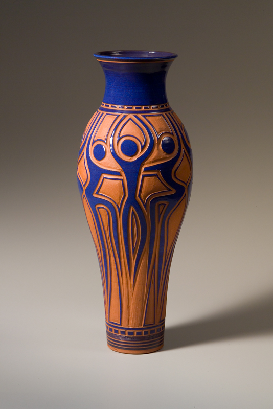 """Vase with Dancers in Blue • 26"""" tall • $350"""