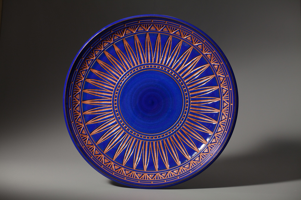 "Platter in Blue with Carving • 24"" wide • $295"