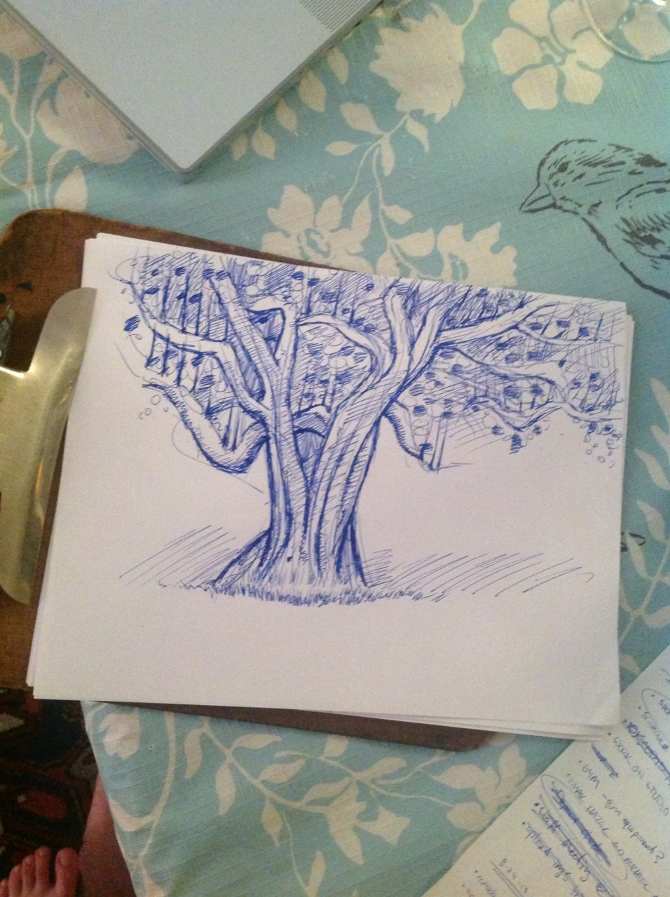 Waiting for dinner to cook so I draw apple trees! There's one outside my front door. Now it's on my clipboard.