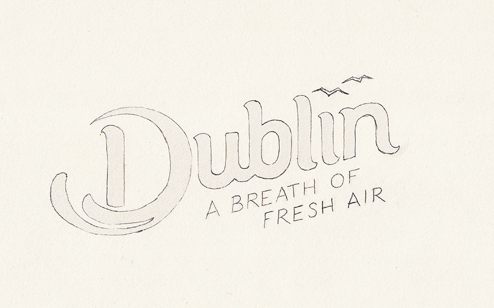 Early sketch of the logo – before the seagulls became swifts.