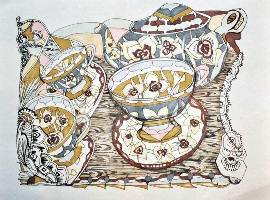 """""""Western Tea Set"""" by Virginia Palyka $800"""
