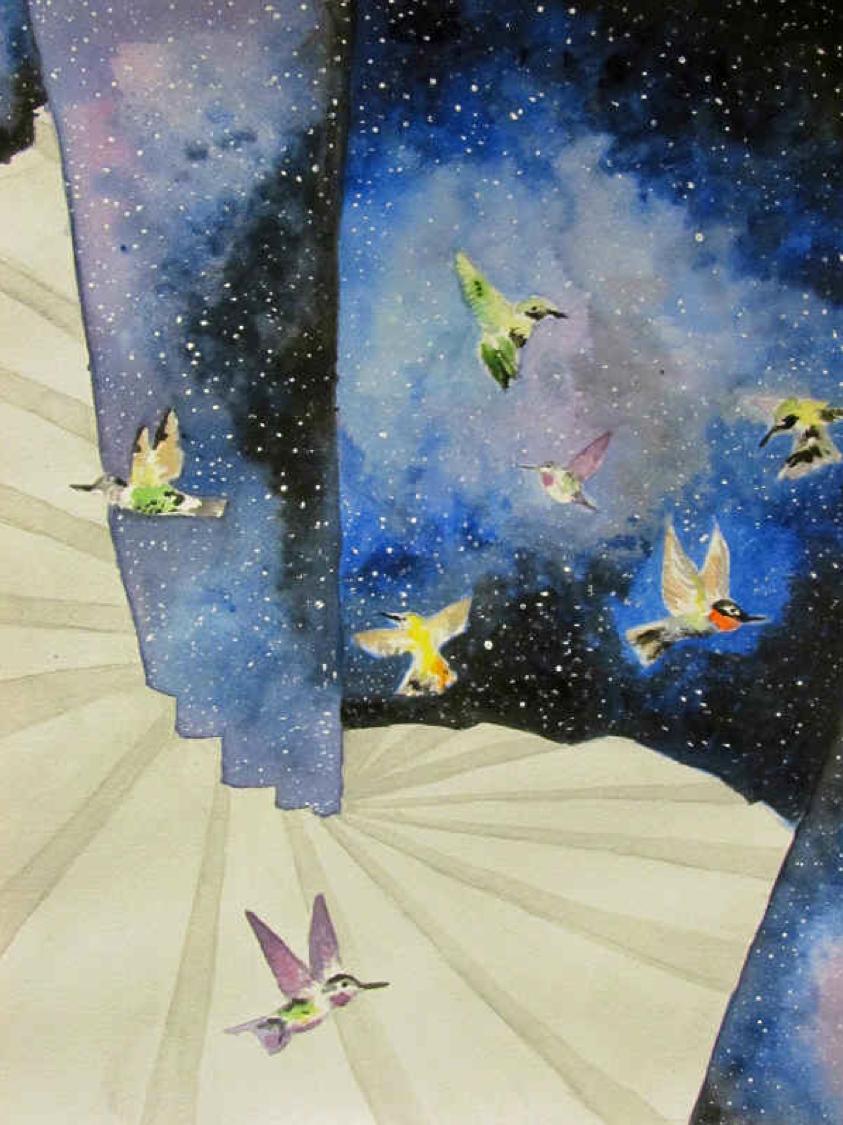 """Hummingbirds Staircase"" by Luna Hattori $100"