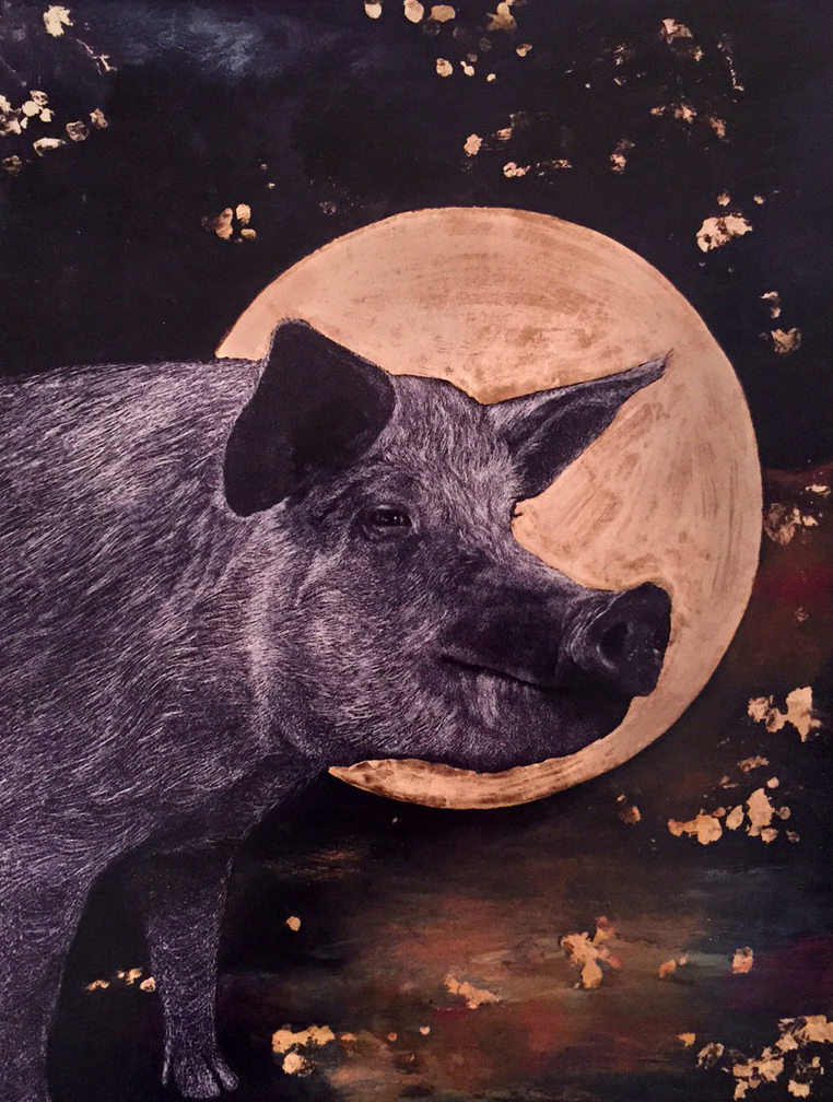 """""""Out to Pasture Pig"""" by Heather Heckel $40"""