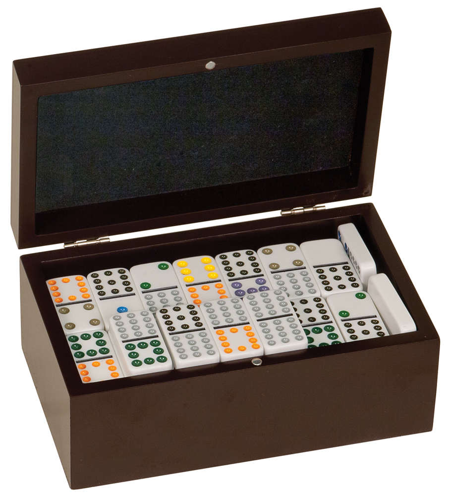 Rosewood Finish Box with Dominos >> starts at $49.95