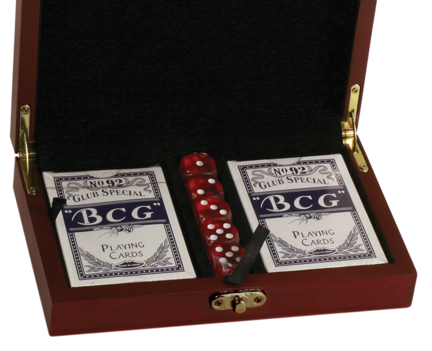 Rosewood Finish Box with Cards & Dice >> starts at $29.95
