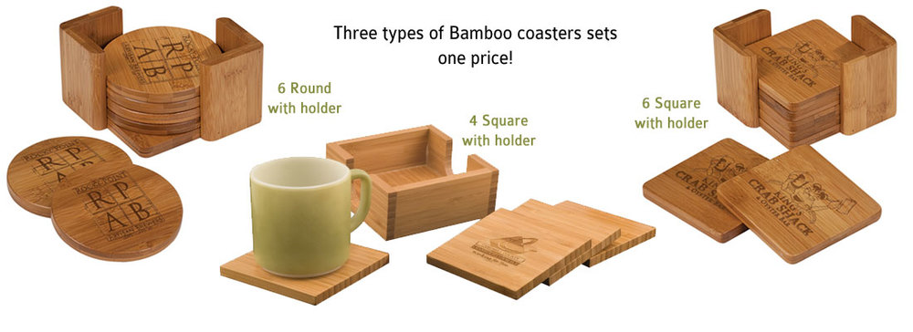 >> Bamboo Coasters  • starts at $24.95