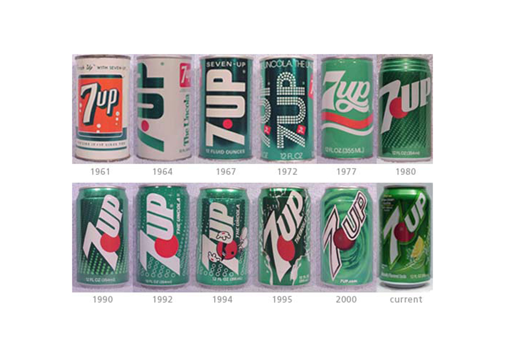 7up old logo can design evolution