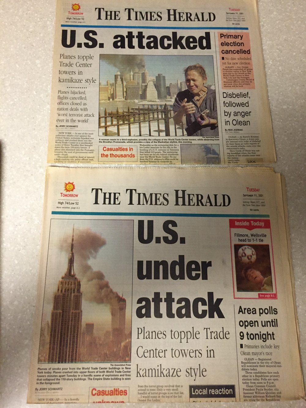 Top: Our Extra Edition on 9/11. Bottom: The First Edition.