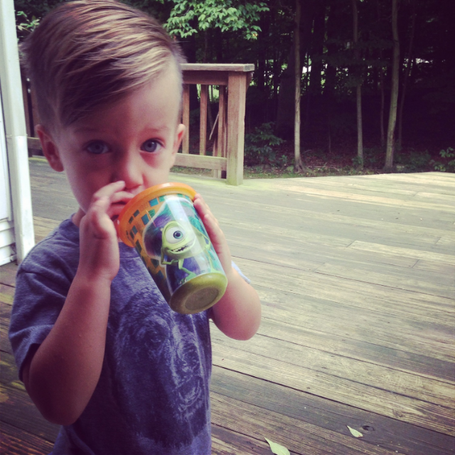 Asher diggin' his daily smoothie...