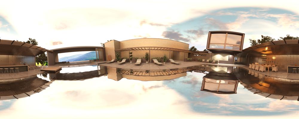 Imagen 1. Render de entorno 360° para visualizar en el dispositivo Samsung Gear / Foto: Mario Pistoni Pérez