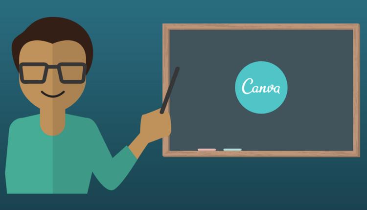 Imagen diseñada en canva de profesor en clase