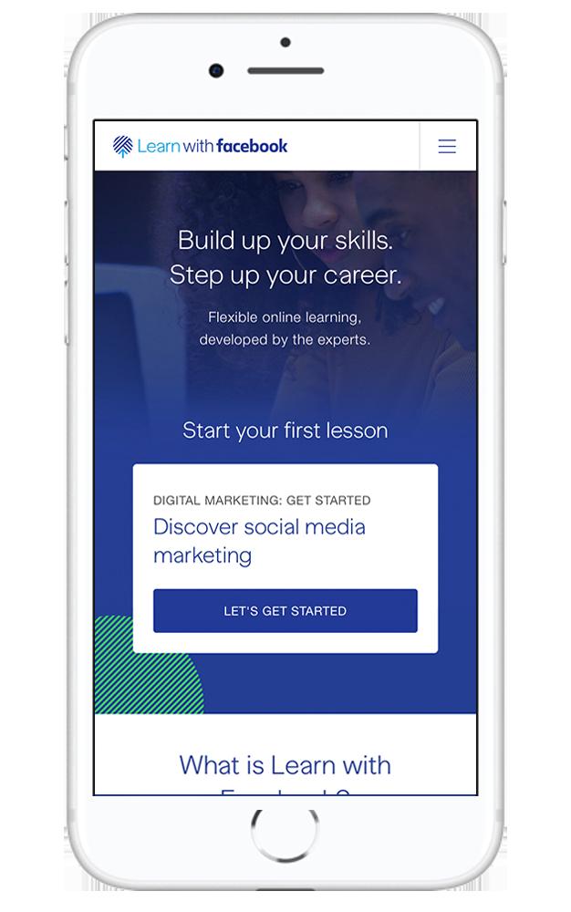 Interfaz de Learn with Facebook